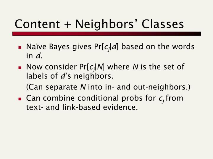 Content + Neighbors' Classes