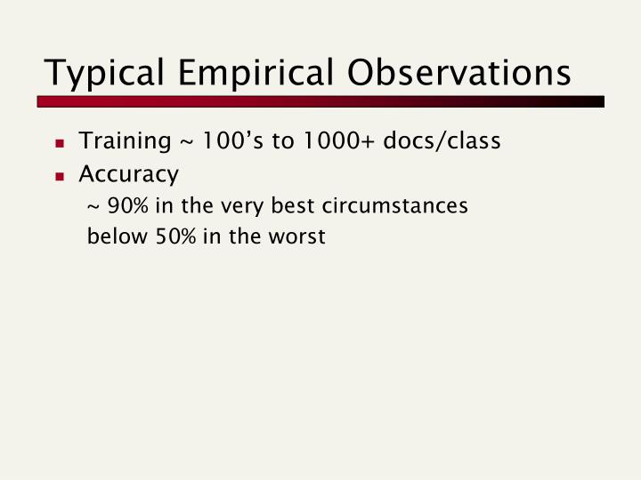 Typical Empirical Observations