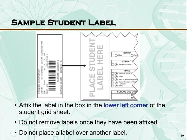Sample Student Label