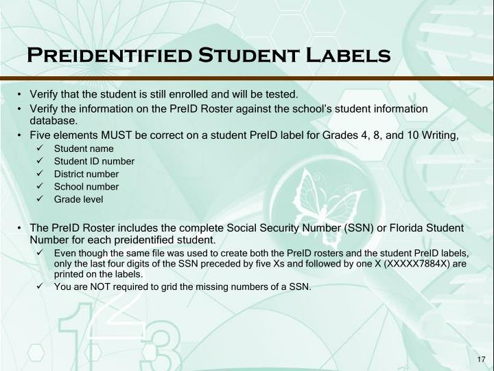 Preidentified Student Labels