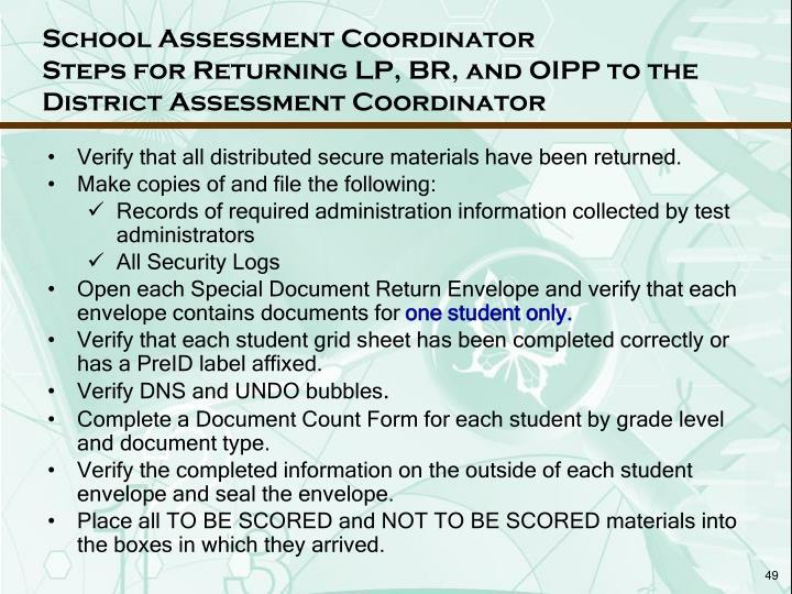 School Assessment Coordinator