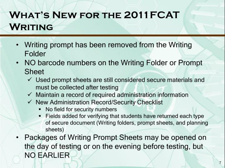 What's New for the 2011FCAT Writing