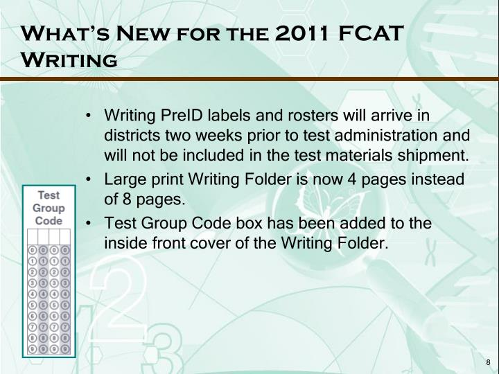 What's New for the 2011 FCAT
