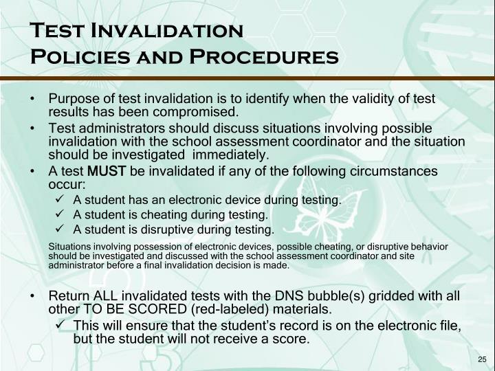 Test Invalidation