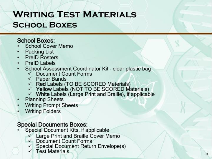 Writing Test Materials