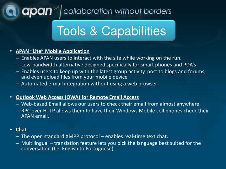 Tools & Capabilities