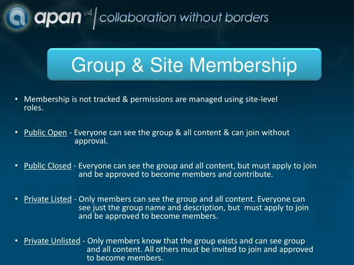 Group & Site Membership