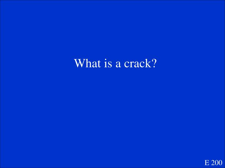 What is a crack?