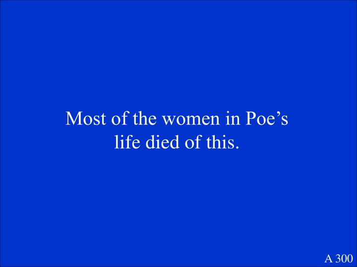 Most of the women in Poe's life died of this.