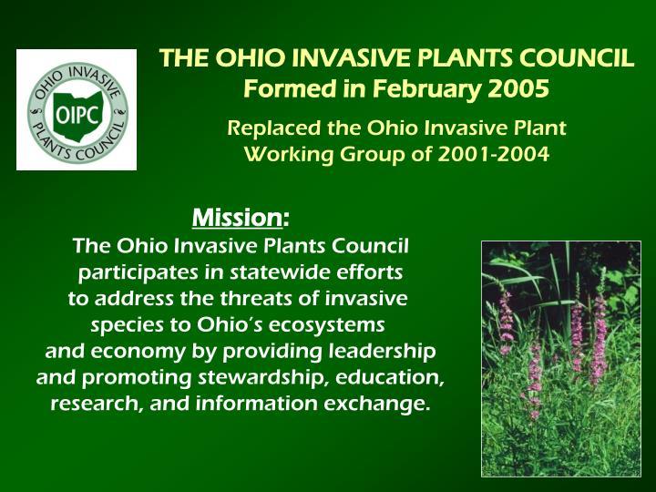 THE OHIO INVASIVE PLANTS COUNCIL