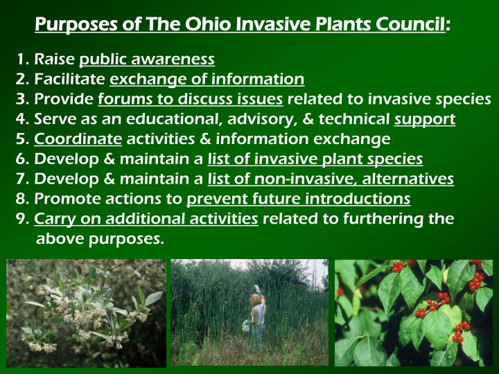 Purposes of The Ohio Invasive Plants Council