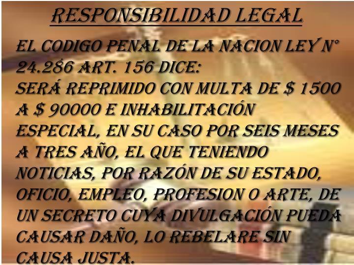 RESPONSIBILIDAD LEGAL