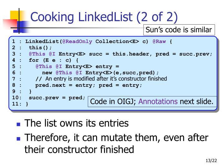 Cooking LinkedList (2 of 2)