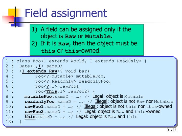Field assignment