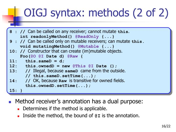 OIGJ syntax: methods (2 of 2)