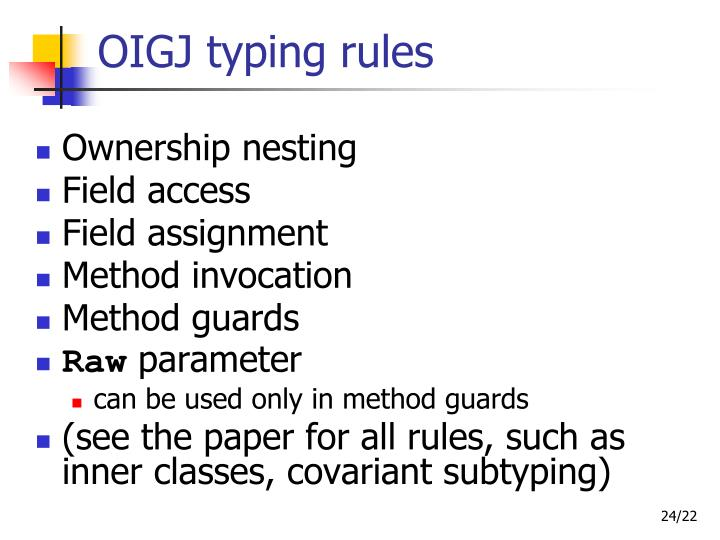 OIGJ typing rules