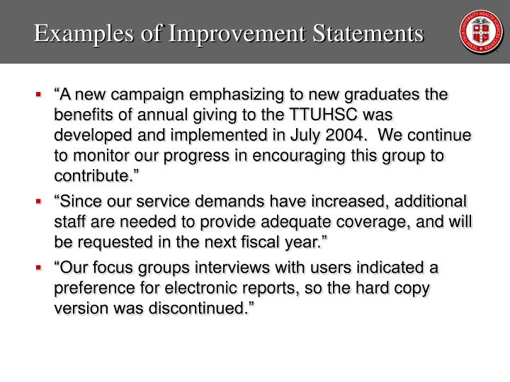 Examples of Improvement Statements