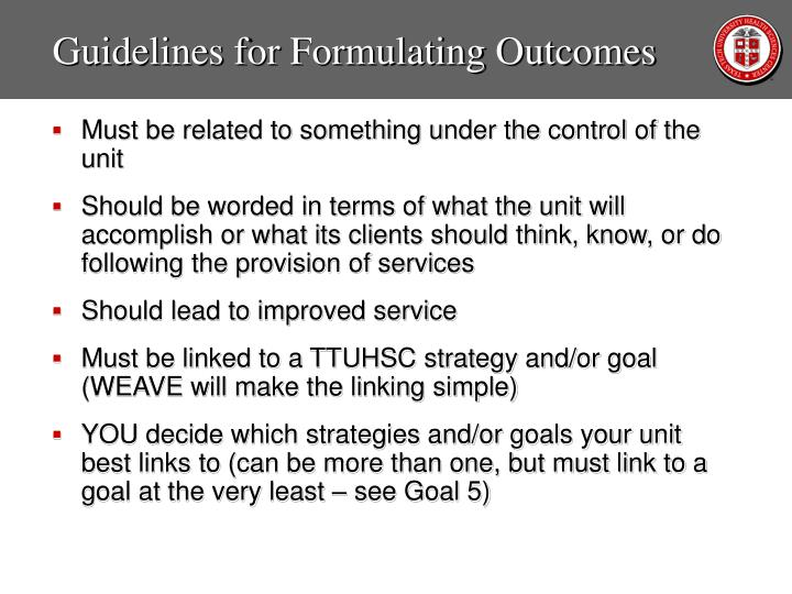 Guidelines for Formulating Outcomes