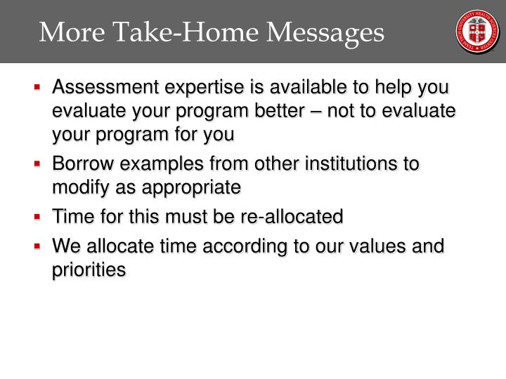 More Take-Home Messages