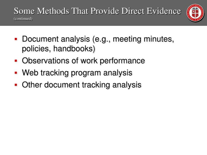 Some Methods That Provide Direct Evidence