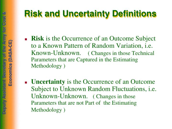 Risk and Uncertainty Definitions