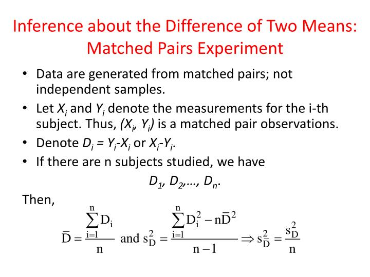 Inference about the Difference of Two Means: