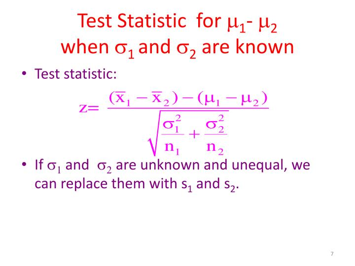 Test Statistic  for
