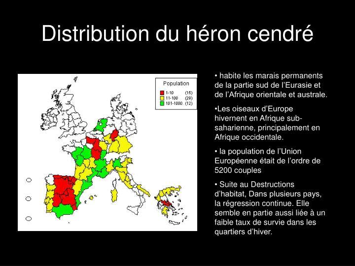 Distribution du héron cendré