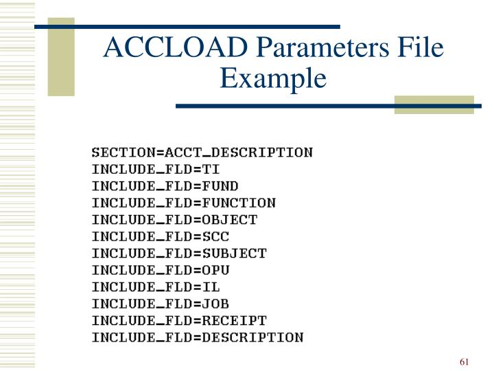 ACCLOAD Parameters File Example