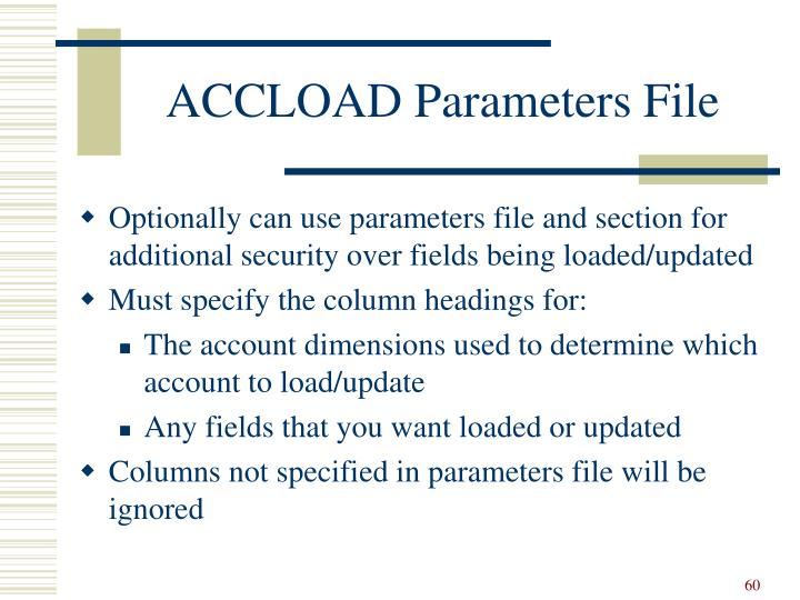 ACCLOAD Parameters File