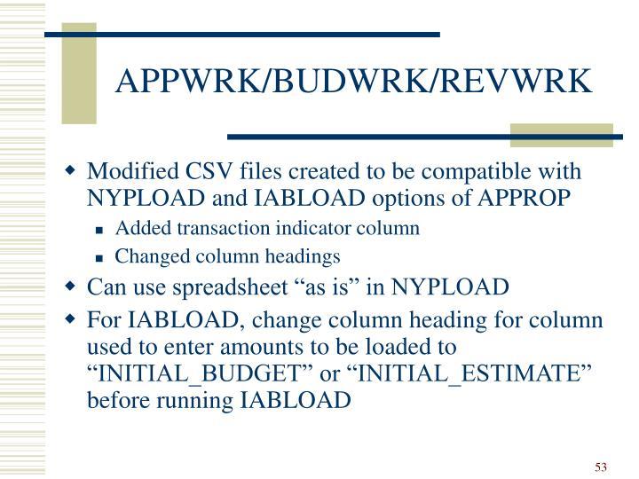 APPWRK/BUDWRK/REVWRK