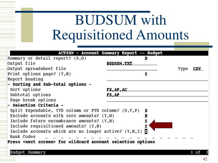 BUDSUM with Requisitioned Amounts