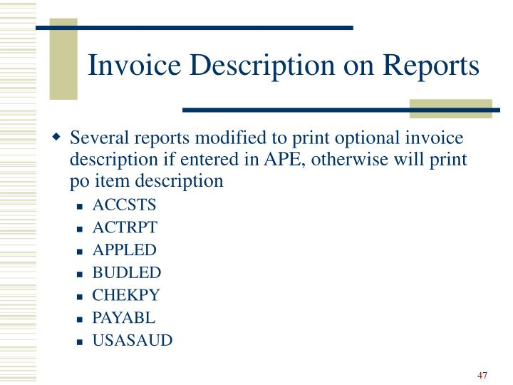 Invoice Description on Reports