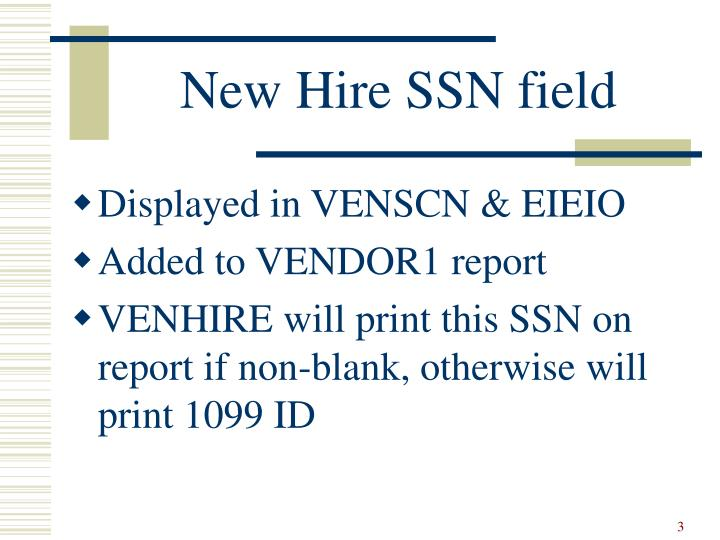 New hire ssn field