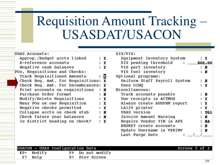 Requisition Amount Tracking – USASDAT/USACON