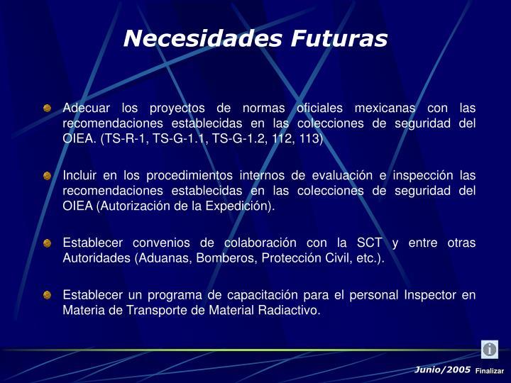 Adecuar los proyectos de normas oficiales mexicanas con las recomendaciones establecidas en las colecciones de seguridad del OIEA. (TS-R-1, TS-G-1.1, TS-G-1.2, 112, 113)