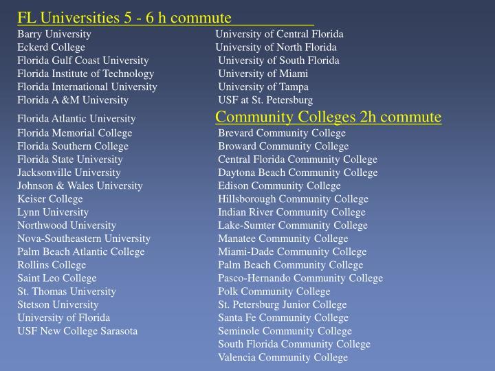 FL Universities 5 - 6 h commute