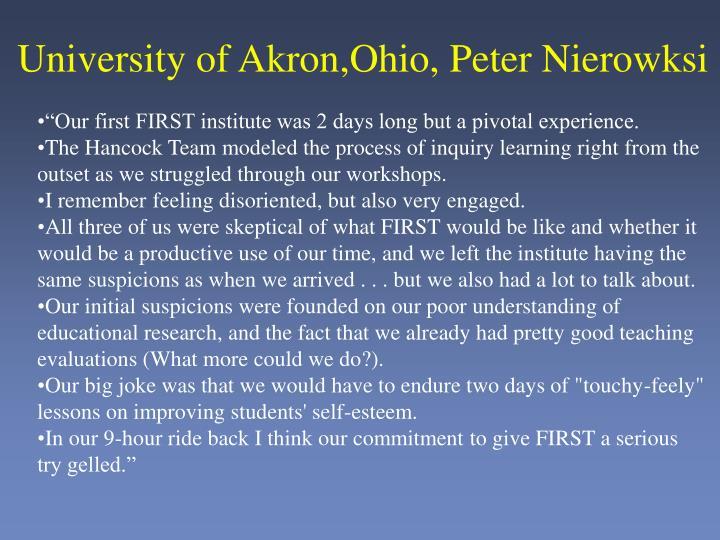 University of Akron,Ohio, Peter Nierowksi