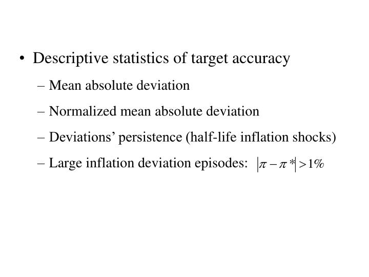 Descriptive statistics of target accuracy