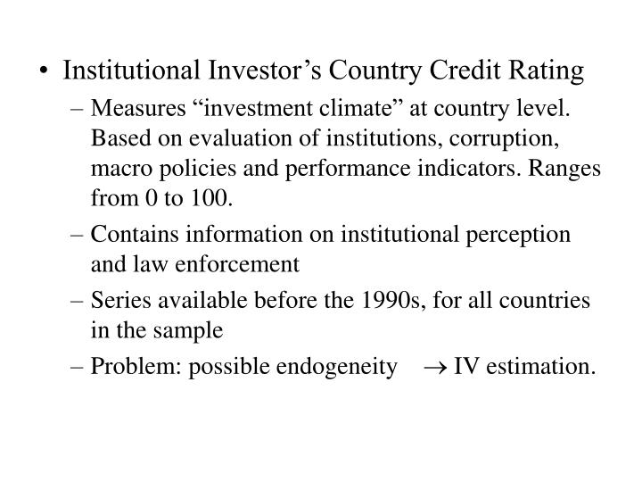 Institutional Investor's Country Credit Rating