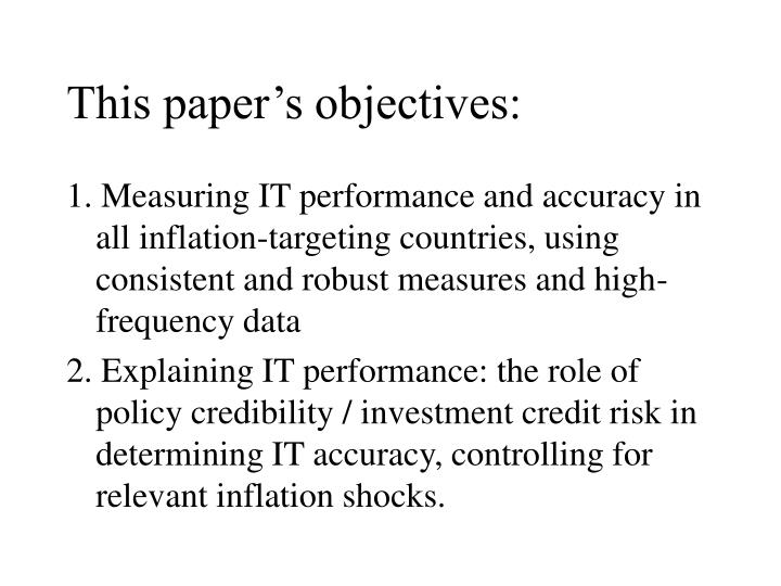 This paper's objectives: