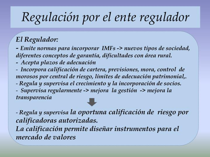 Regulación por el ente regulador