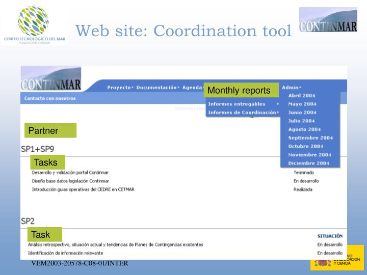 Web site: Coordination tool
