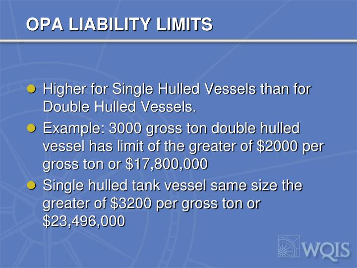 OPA LIABILITY LIMITS