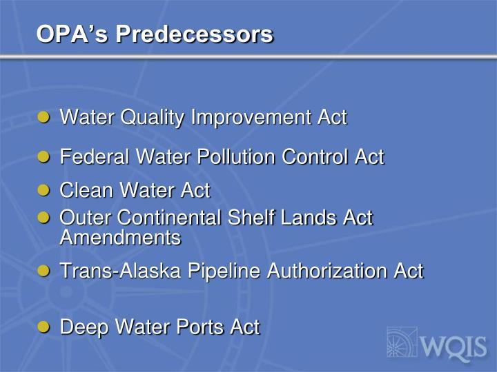 OPA's Predecessors
