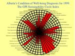 alberta s condition of well being diagnosis for 1999 the gpi sustainability circle index