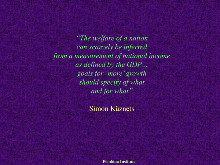 """The welfare of a nation"