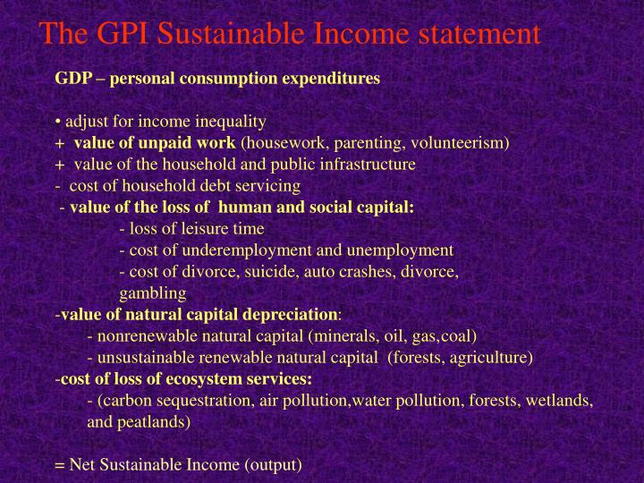 The GPI Sustainable Income statement