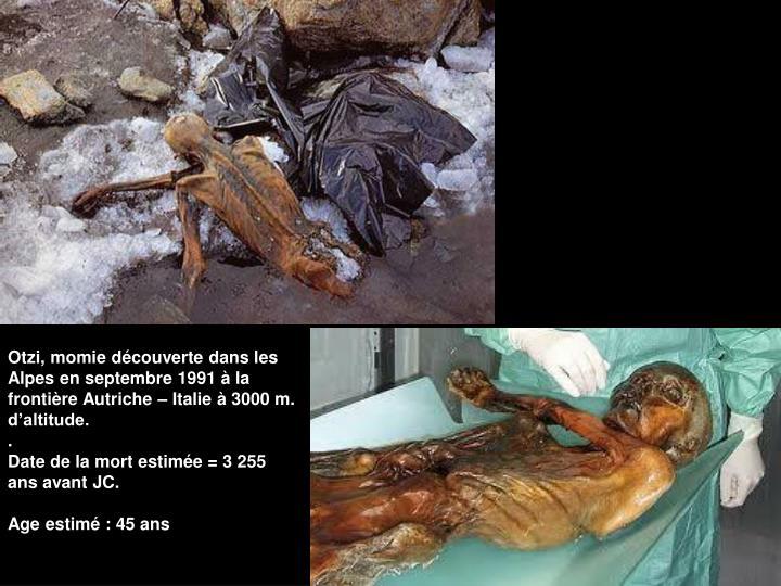 Otzi, momie découverte dans les Alpes en septembre 1991 à la frontière Autriche – Italie à 3000 m. d'altitude.