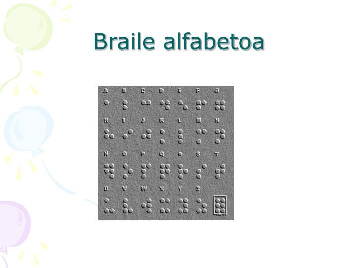 Braile alfabetoa